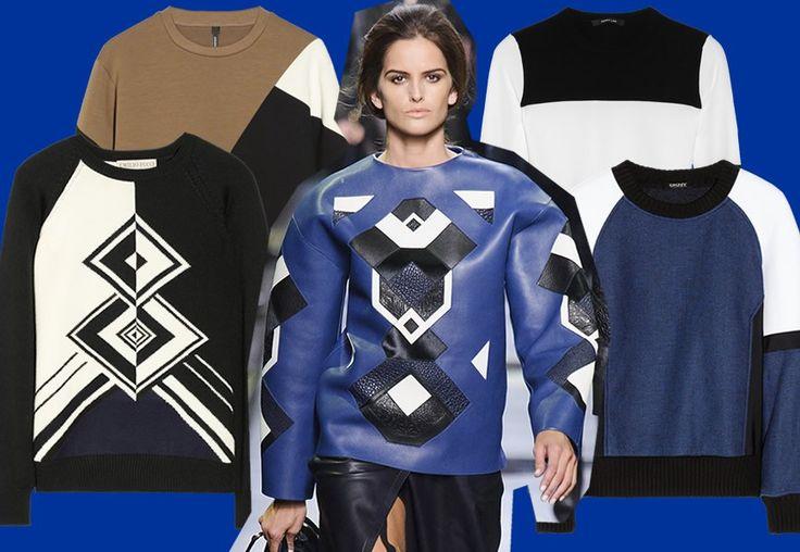 Felpe e maglioni in lana colorati con rombi, quadri, righe e fasce asimmetriche