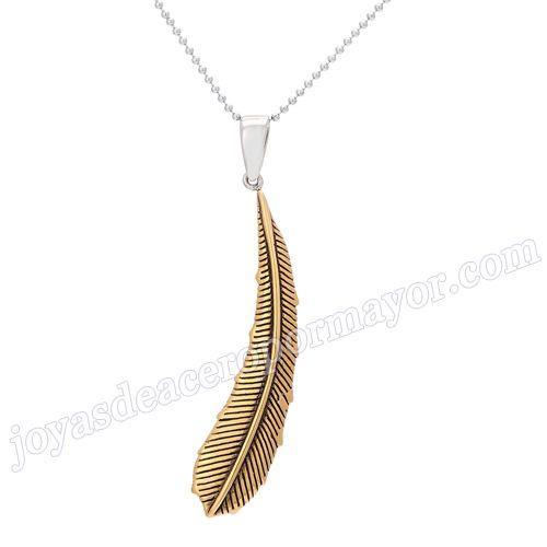 Material:Acero Inoxidable     Nombre: nuevo diseño de joyas de la moda de acero inoxidable pluma colgante encanto     Talla: 54*10mm     Weight:6g     Model No.: SSPT007