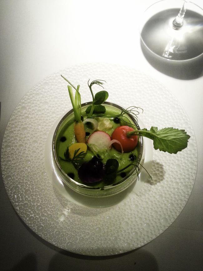 Spring Garden with peas puree. At Restaurant Gordon Ramsay - London