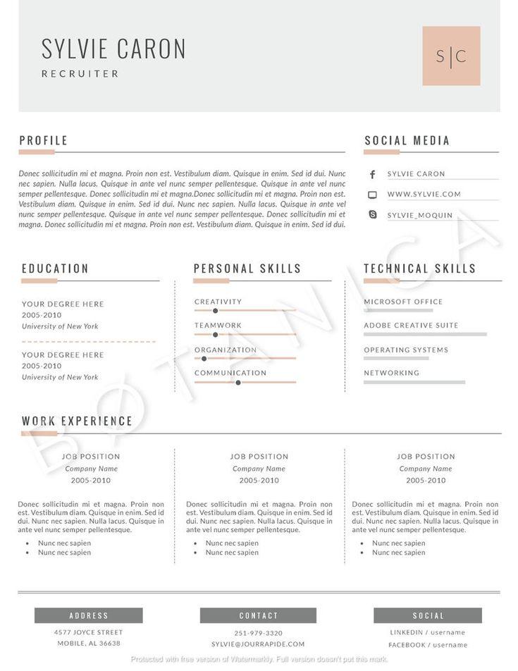 Minimalist resume template elegant cv template cover