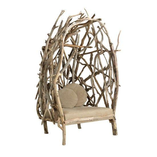Bleu Nature: grand fauteuil en bois flotté