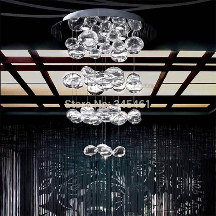 Dia 50cm Height 70cm Creative Upscale Modern Glass Chandelier Classic Bubble Crystal Pendant Lamp Included 4 Halogen Bulb