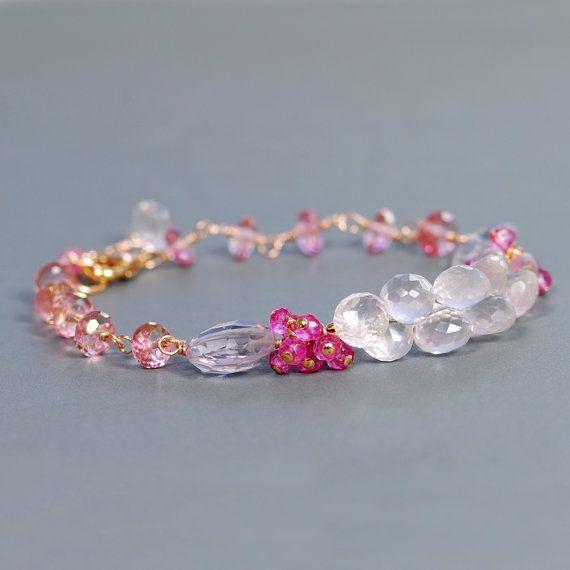 Rose Quartz Pink Quartz Bracelet by Agusha. Pink Quartz by agusha