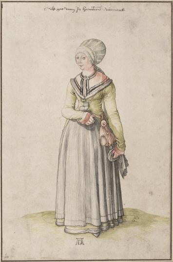Nürnbergerin im Hauskleid, 1500, Durer  Apron Gollar Headdress