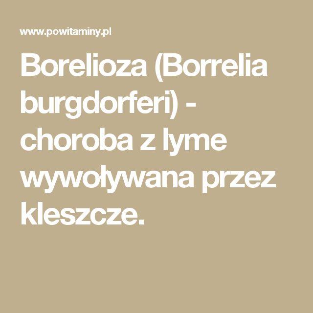 Borelioza (Borrelia burgdorferi) - choroba z lyme wywoływana przez kleszcze.