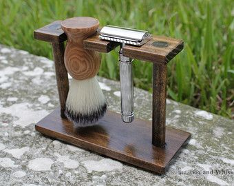 Wood Razor & Brush Shaving Stand for Safety, Double Edge and Straight Razors #man