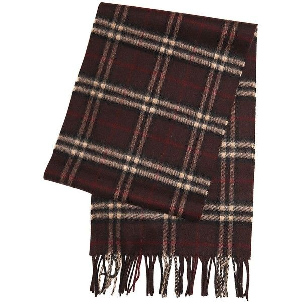 Burberry Men Checked Cashmere Scarf ($340) ❤ liked on Polyvore featuring men's fashion, men's accessories, men's scarves, brown, mens cashmere scarves, burberry mens scarves and mens scarves