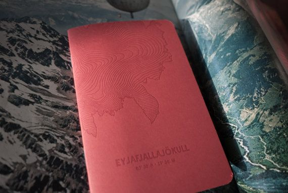 Red Letterpress Notebook Graph Paper Eyjafjallajökull Glacier $11