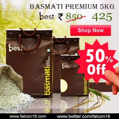 Get Amazing Discount of 50% now on premium Basmati Rice 5kg!! Hurry!! Shop Now!! Best premium basmati rice is extra special aromatic rice. Always get premium quality & exquisite taste with Best. Make that biryani, pulao, and fired rice special with Best.