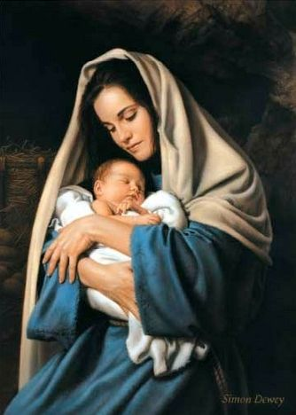 In the Arms of Mary by Simon Dewey (Just holding your baby is such a pleasure)