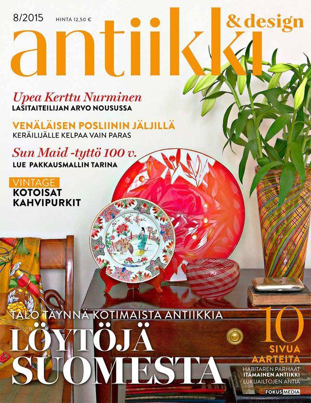 Antiikki & Design 8/2015. Magazine cover. Photo Riitta Sourander.