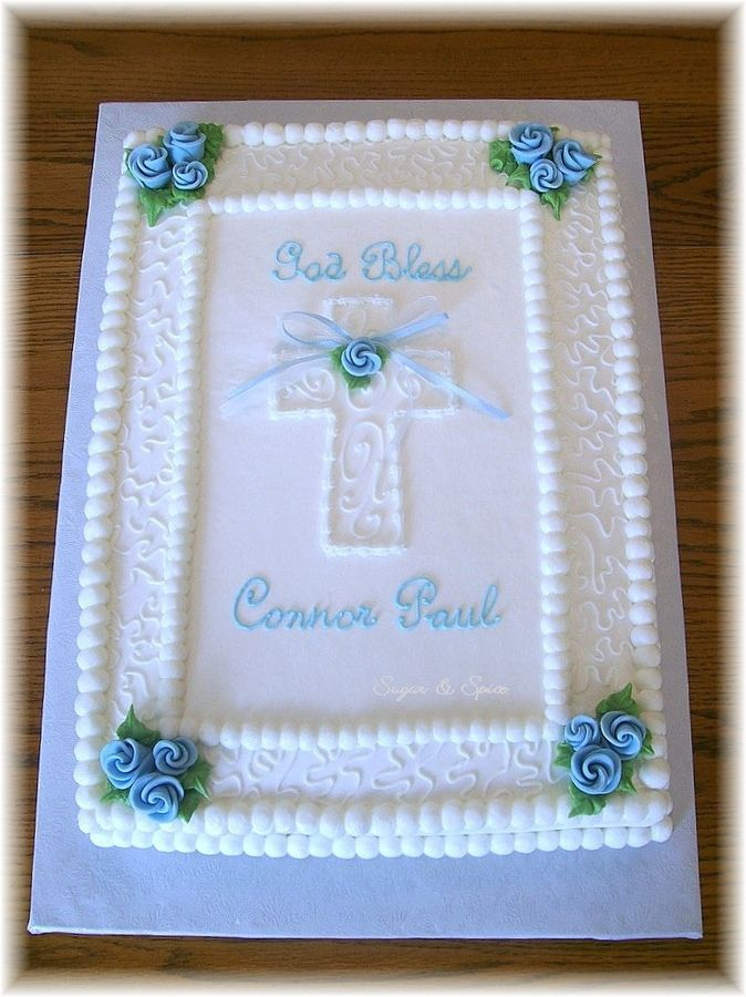 "Baptism Sheet Cakes for Boys | 11x15"" sheet cake decorated in buttercream with fondant ribbon roses."