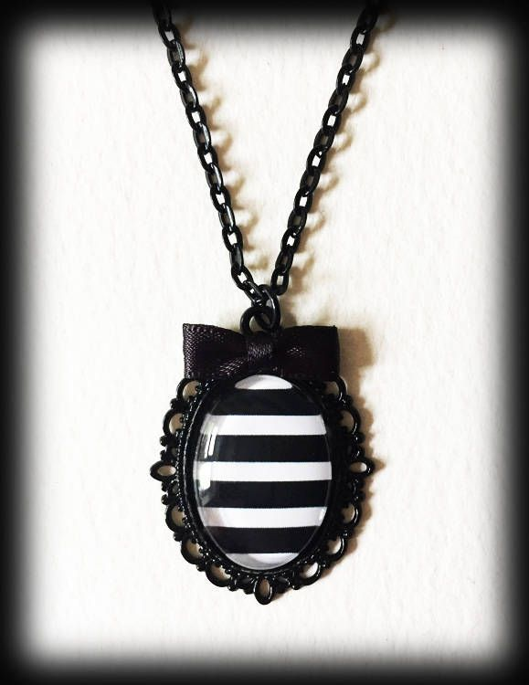 Black and White Striped Necklace, Gothic Victorian Steampunk Pendant, Beetlejuice Cameo, Handmade Jewelry, Gothic Jewelry by WhisperToTheMoon on Etsy