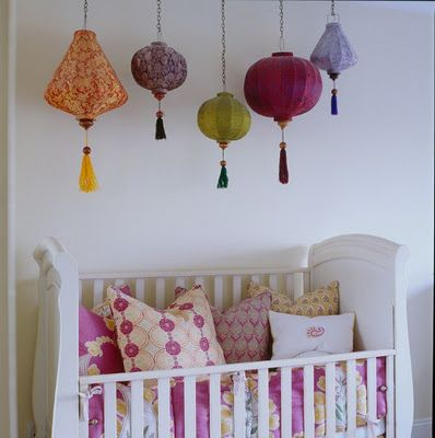 Bohemian Vintage: Bohemian Boho Baby! Cute Idea For Baby Girl Nursery lanterns cluster