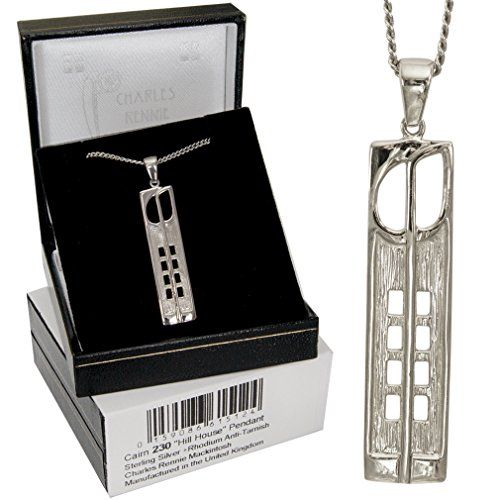 "Cairn 230 Silver Rennie Mackintosh Pendant """"Hill House"""". Tarnish Resistant. British Made. Charles Rennie Mackintosh Jewellery. Rennie Mackintosh Jewellery."""