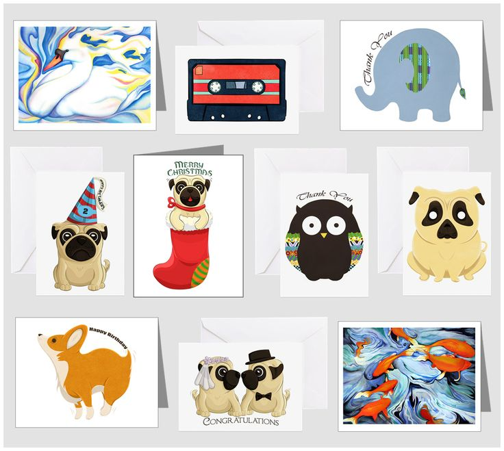 Buy a variety of cards at Cafepress shop: AG Painted Brush T-Shirts! http://www.cafepress.com/agpaintedbrushtshirts/8588657 #card #cards #birthday #christmas #pug #wedding #thankyou