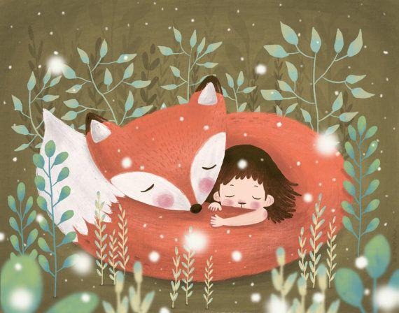 Illustrazione di fox e ragazzo adorabile / parete decorazione/arte stampe/carina illustrazioni/bambini camera/kids arte/opera/neve illustrazione/bambini