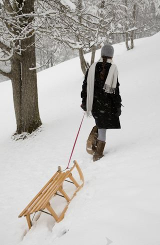 .Nice day for a sled ride down the hill!