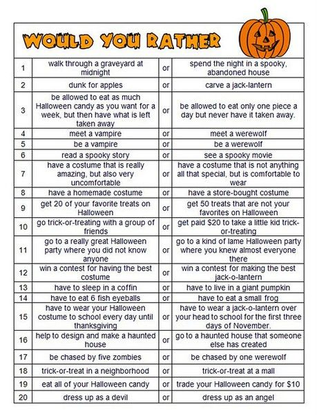 """Would you rather, Halloween style.  Fun for a class party.... I use would you rather as a """"Work on Writing"""" activity in Daily 5... kids have to choose which they would rather do, and write why they chose it... and why they didn't chose the other..."""
