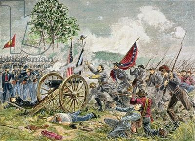 Pickett's Charge, Battle of Gettysburg in 1863 (coloured etchign)