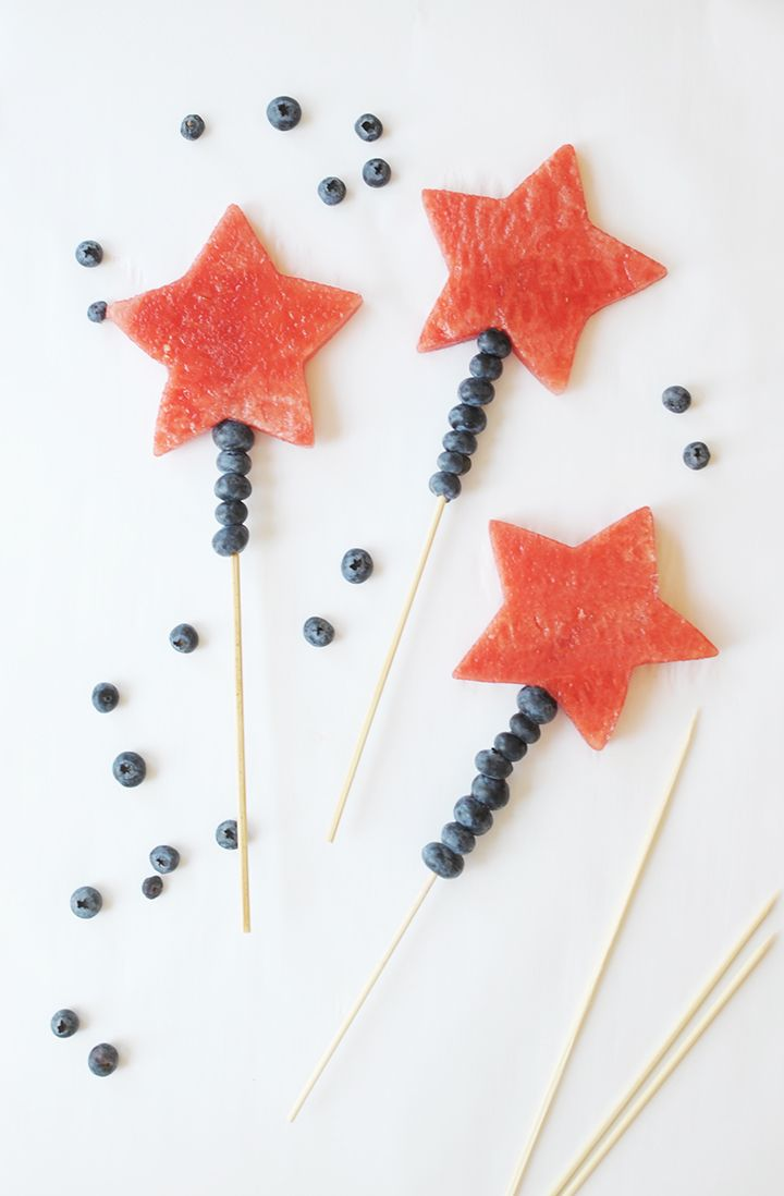 Make these Fourth of July Watermelon Wands with the kids this Independence Day for a fun and healthy treat. Kids love watermelon wands!