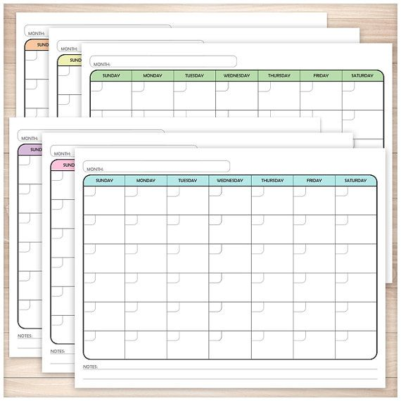 Printable Blank Calendar BUNDLE - Monthly Full Pages - 6 ...