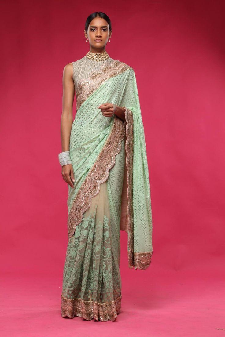 Gorgeous mint green lacy sari