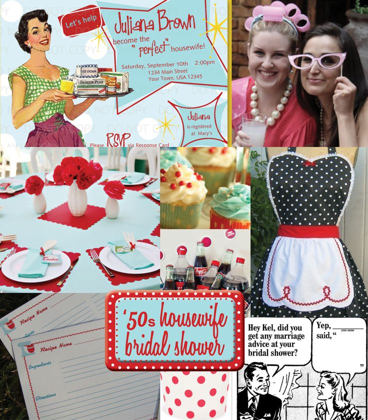 vintage kitchen bridal shower | retro invitations 2 retro ladies with props 3 red