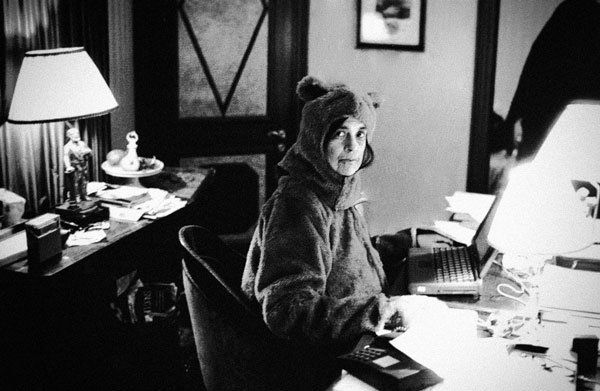 Extremely Silly Photos of Extremely Serious Writers ---  Susan Sontag in a bear suit, as snapped by Annie Leibovitz