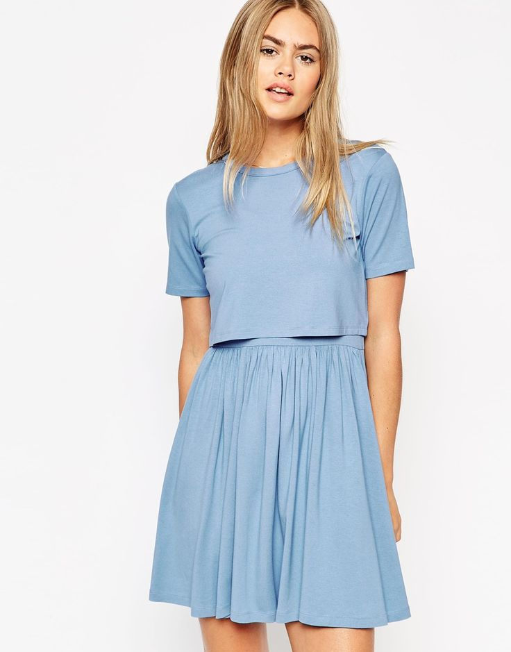 Image 1 of ASOS Skater Dress with T-Shirt Overlay