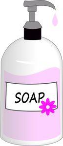 PublicDomainVectors.org-Un dessin de rose savon liquide dans un distributeur de verre de vectoriel Inkscape.