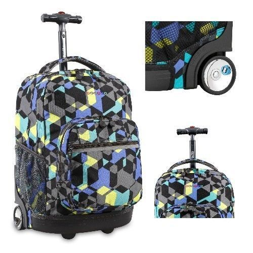 Kids Rolling Backpack Bookbag School Wheeled Trolley Travel Roller Carry On New #Backpack