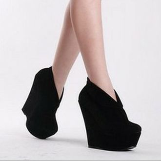Women's New Platforms Wedges High #Heels Suede Solids Shoes Retro #Ankle #Boots