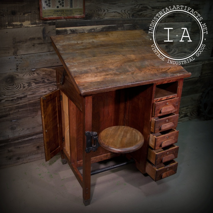 Antique Industrial Style Drafting Table w/ Swing Stool 5 Drawers Filing  Cabinet FREE SHIPPING. - Antique Furniture Shipping Antique Furniture