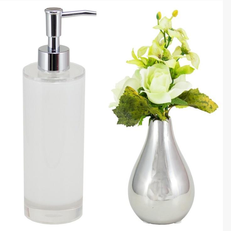 Porta Sabonete Líquido Acrílico Light Elegance - Branco