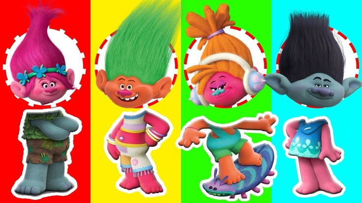 Colors for Children & Kids to Learn with Wrong Heads Dreamworks Trolls F...