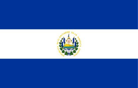 The flag of El Salvador was officially adopted on May 17, 1912. The blue and white are the original colors used by the United Provinces of Central America after they gained their independence from Spain in 1823. The centered emblem is surrounded by the 5 flags of the those United Provinces.