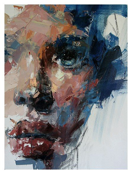 Ryan Hewett - I like that this artist has used a range of different colours to create the skin tones of this portrait. Painted with a palette knife; Oils.