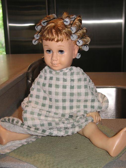 Restoring old dolls hair