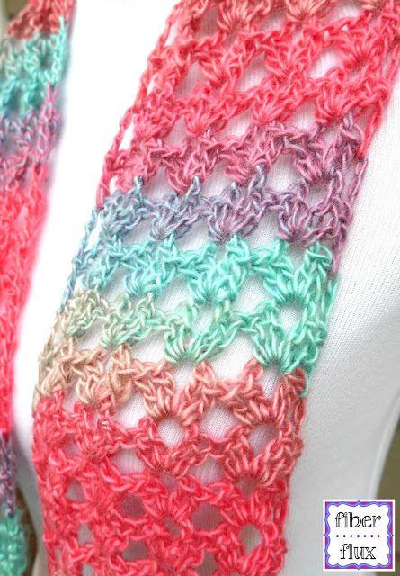 Fiber Flux: Free Crochet Pattern...Island Lace Scarf!