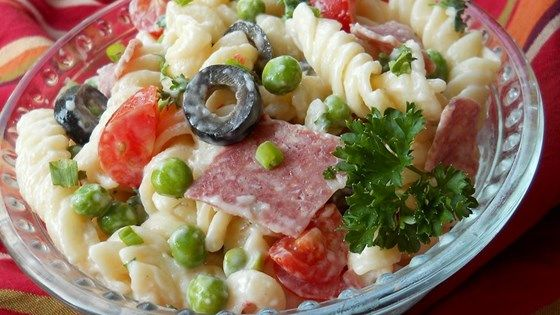 Garden veggies with fusilli pasta, Italian Parsley, Genoa salami and creamy Italian dressing makes for a pasta salad that will be a favorite at your next picnic or potluck.