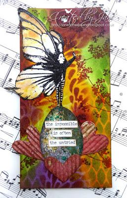 * Rubber Dance Blog *: Mixed Media tag with butterfly girl stamp
