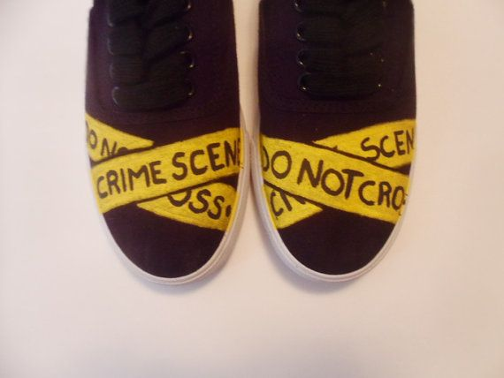 Crime Scene Tape lace-ups - I may have to make these :D