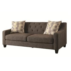 Avondale Transitional Sofa With Tufted, Attached Back And Loose Pillow Seat  Cushions