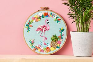 Flamingo embroidery hoop art