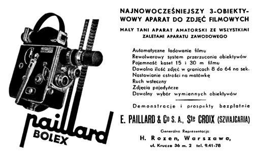 Aparat do zdjęć filmowych Paillard Bolex - reklama prasowa, 1939 rok