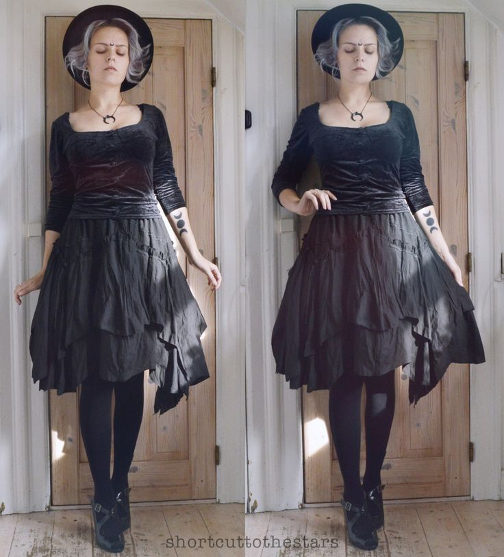 shortcuttothestars:  ☽ Moon witch ☾ Hat from H&MNecklace from RestyleUpcycled skirtEverything else is thrifted