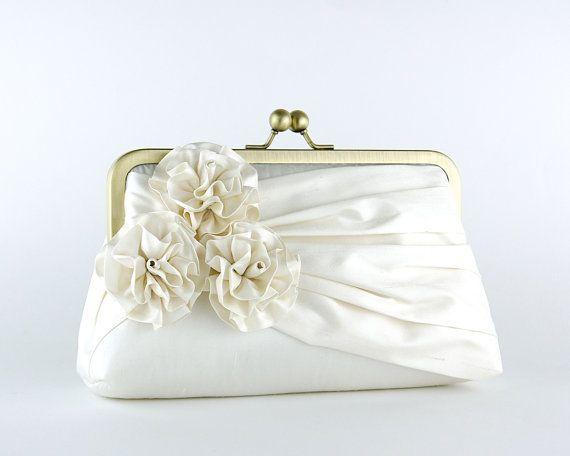 Bridal clutch, Roses Silk Clutch in Ivory, wedding clutch, wedding bag, Luxury Bridesmaid Gift