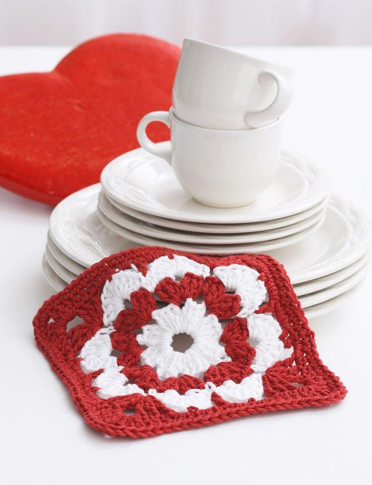 Yarnspirations.com - Lily Valentine Dishcloth - Patterns  | Yarnspirations