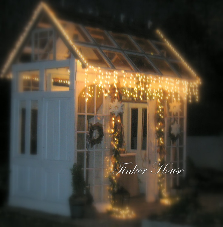 lights on the greenhouse shed